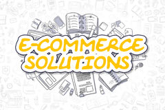 E-Commerce Solutions - Doodle Yellow Word. Business Concept. vector illustration