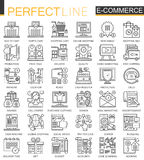 E-commerce stroke outline concept symbols. Perfect thin line icons. Shopping Modern linear style illustrations set. Royalty Free Stock Images