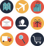 E-commerce  style icons. E-commerce icons with most popular onlain use Stock Image