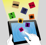 E commerce on tablet pc. E commerce business touch cart internet royalty free illustration