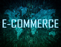 E-Commerce. Text concept on green digital world map background Royalty Free Stock Images