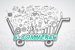E-commerce text, With creative drawing charts and graphs business success strategy plan idea, Inspiration concept modern design te. Mplate workflow layout Stock Photography