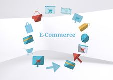 E-commerce text with drawings graphics Royalty Free Stock Photography