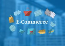 E-Commerce text with drawings graphics Royalty Free Stock Photo