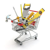 E-commerce. Tools and shopping cart Stock Photos