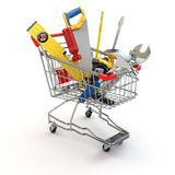 E-commerce. Tools and shopping cart. Royalty Free Stock Images