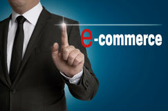 E commerce touchscreen is operated by businessman Royalty Free Stock Photos