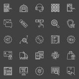 E-commerce vector icons. Thin line internet shopping signs. Online sales and shop symbols on dark background Royalty Free Stock Images