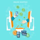 E-commerce website online shopping money payments Stock Photography