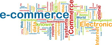 E-commerce word cloud royalty free stock photo