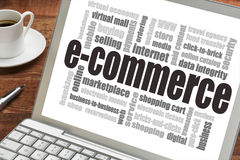 E-commerce word cloud. On a laptop screen with a cup of coffee - internet business concept Stock Photos
