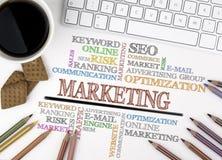 E - Commerce word clouMarketing word cloud, Business concept. Wh Stock Photos