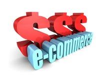 E-COMMERCE-Wort mit großen DollarWährungszeichen Stockfoto