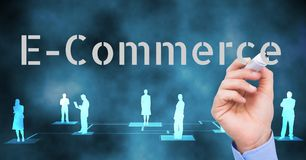 E-COMMERCE, write by business hand. Royalty Free Stock Image
