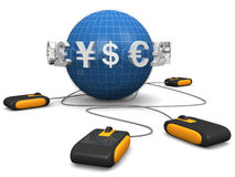 E-commerces international currency. Mouse with international currency symbol surrounded a globe E-commerces concept 3d illustration Stock Photos