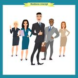 E Commercieel team Een groep mensen kleedde zich in strikt kostuum stock illustratie