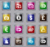 E-commers szklane ikony ustawiać ilustracja wektor