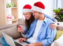 E-compras de la Navidad imagen de archivo