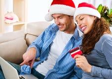 E-compras de la Navidad fotos de archivo