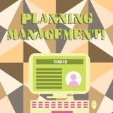 E Concept d'affaires pour l'acte ou le processus de faire ou d'effectuer des plans de bureau illustration stock