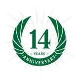 E Conception élégante de logo d'anniversaire Quatorze ans de logo illustration stock