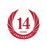 E Conception élégante de logo d'anniversaire Quatorze ans de logo illustration libre de droits