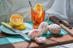 E Concepto del desayuno Foco selectivo Cierre para arriba foto de archivo libre de regalías