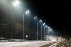 E concetto di modernizzazione e di manutenzione delle lampade, posto per testo, notte immagini stock