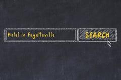 E Concetto di ricerca e di prenotazione dell'hotel a Fayetteville fotografia stock libera da diritti