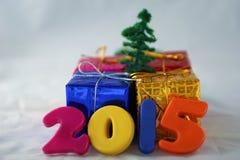 2015 e contenitori di regalo Fotografia Stock