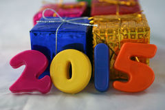 2015 e contenitori di regalo Immagini Stock