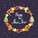 E Convite ou cartão Ano novo feliz Imagem de Stock