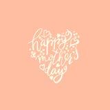 E Coração feliz do dia de mães dado forma Fotografia de Stock Royalty Free