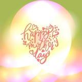 E Coração feliz do dia de mães dado forma Imagem de Stock
