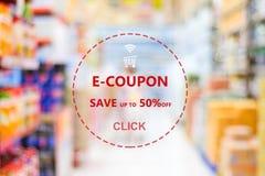 E-coupon, van het de couponweb van de kruidenierswinkelkorting de bannerachtergrond, het winkelen royalty-vrije stock foto