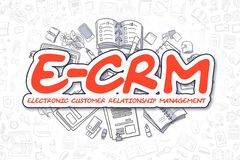 E-CRM - Cartoon Red Word. Business Concept. Royalty Free Stock Photo