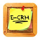 E-CRM. Yellow Sticker on Bulletin. Royalty Free Stock Image