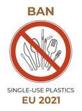 E cutelaria pl?stica do ?nico-uso Grupo plástico da proibição ilustração stock