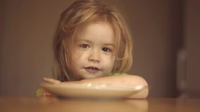E Das Kind in der K?che am Tabellenessen Baby stock footage