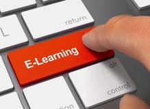 E, das Tastatur mit Illustration des Fingers 3d drückend lernt Lizenzfreie Stockfotografie