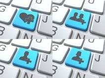 E-daterend Concept - Blauwe Knoop op Toetsenbord Royalty-vrije Stock Afbeelding