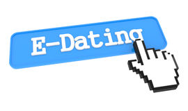E-Dating Button with Hand Cursor. Royalty Free Stock Image