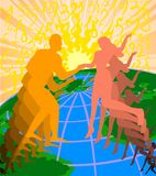 E-dating online. Abstract illustrtion of silhouttes of man and women dancing over globe in digital space Royalty Free Stock Image