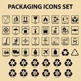 E de ícones de empacotamento, etiquetas de embalagem da carga, símbolos do serviço de entrega ilustração stock
