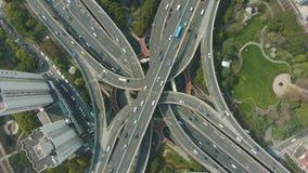 E De Stad van Shanghai China Lucht verticale top-down mening stock video