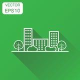E De stadspictogram van de bedrijfsconceptenlijn Vector vector illustratie