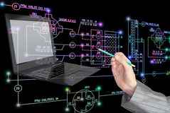 E-designing engineering technology. Stock Photos