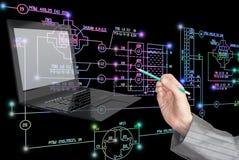 E-designing engineering technology. Stock Photos