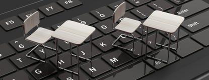 E die, webinar concept leren Witte bureaus op een zwart laptop computertoetsenbord, banner, royalty-vrije illustratie