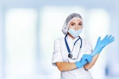 E doktorski target525_1_ rękawiczek bezpłodny Miejsce dla medycznego reklamuje obraz stock
